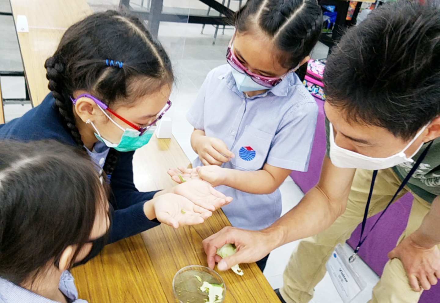 kids in the classroom studying seeds