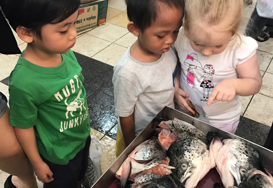 kids studying a fish at the market